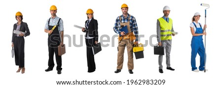 Set of full length portraits of professional workers business people architects isolated over white background Stock photo ©