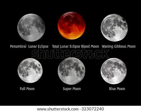 Set of full moon, blood moon, blue moon, super moon,