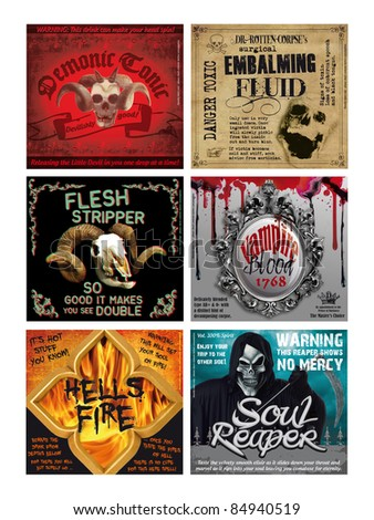 Set of 6 Fun Halloween Drink Bottle labels, print out onto ink jet sticker sheets, cut out and label your favorite tipple for a fun night!