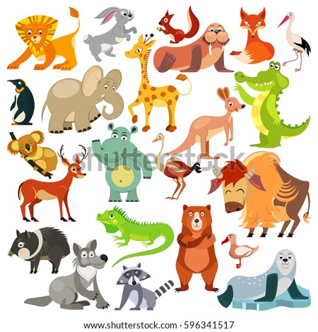 Set of funny animals, birds and reptiles from all over the world. World fauna. For alphabet. Illustration #596341517