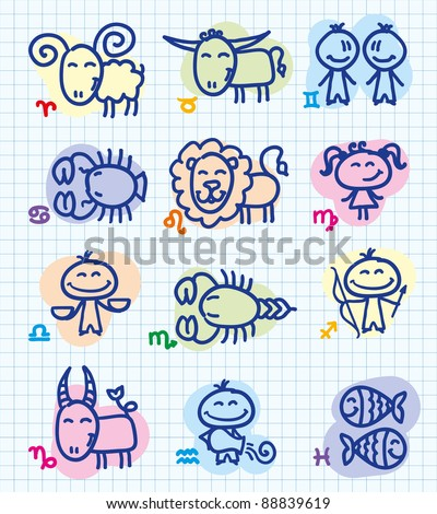 set of funny hand drawn zodiac signs