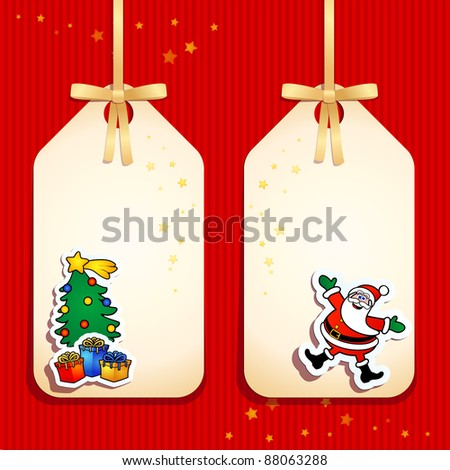 Set of funny labels, Christmas theme.