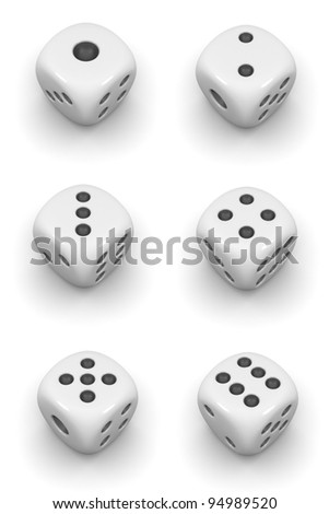 Set of gamble cubes. Isolated on white.