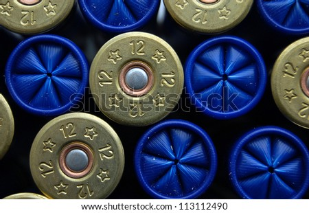 set of game cartridges for hanting, concept of good team for business (team work). Shotgun cartridge of 12 gauge, rifle ammo