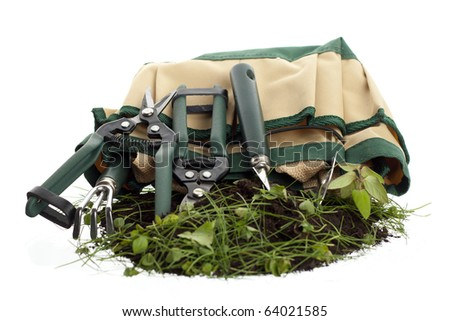 Set of garden tools and the holding bag
