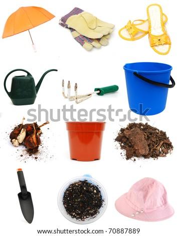Set of gardening tools in spring
