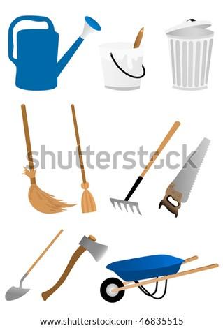 Set of gardening tools isolated on white background