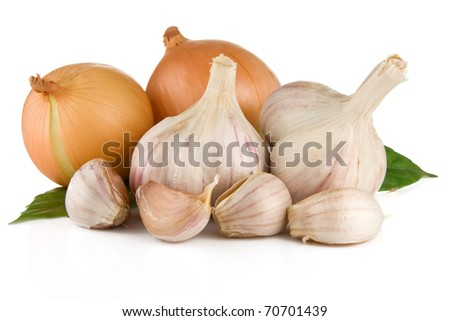 set of garlic and onion isolated on white background