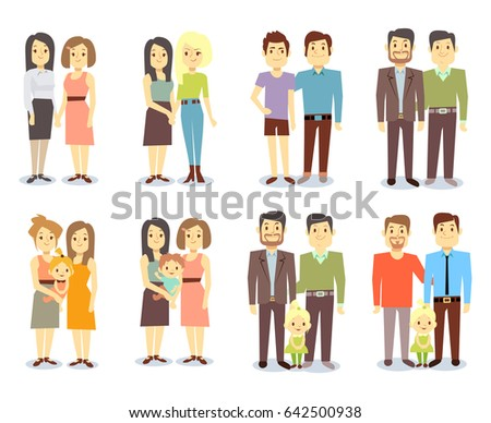 Set of gay LGBT happy families. Collection nontraditional families illustration