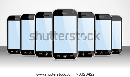 Set of generic black smart phones templates on black background. You can place your own images on the screens. - stock photo