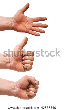 Set of gesturing dirty hands isolated on white background