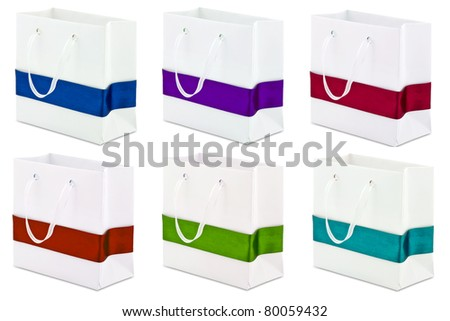 set of gift bag isolated on white