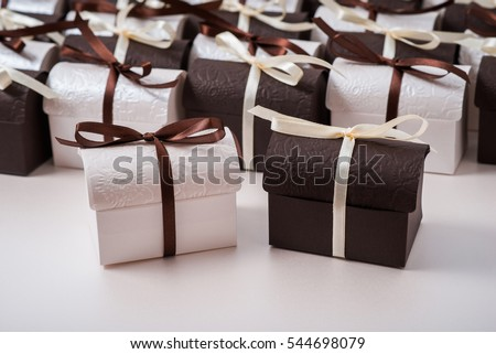 Set of gift boxes. Chests of design paper decoration ribbon. #544698079
