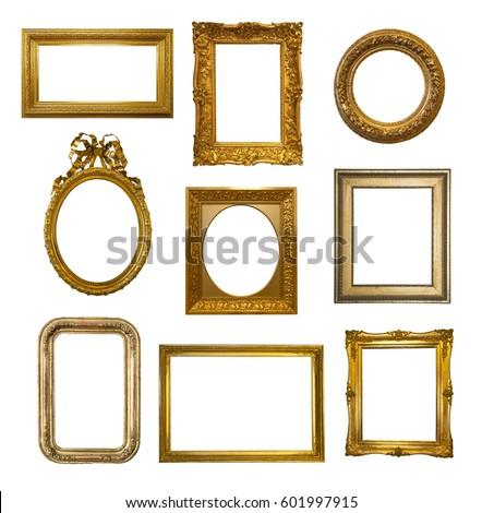 Set of gilded antique frames isolated on white background #601997915