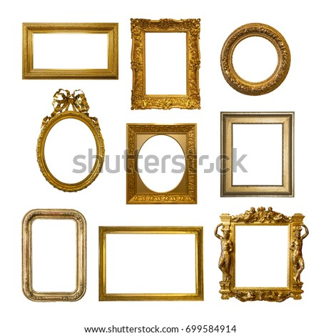 Set of gilded antique frames isolated on white background #699584914