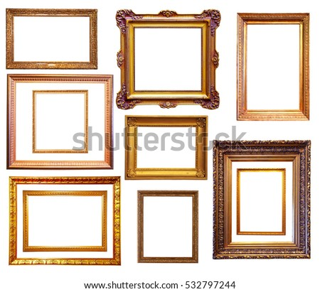 Free photos Old gold picture frames. Isolated on white | Avopix.com