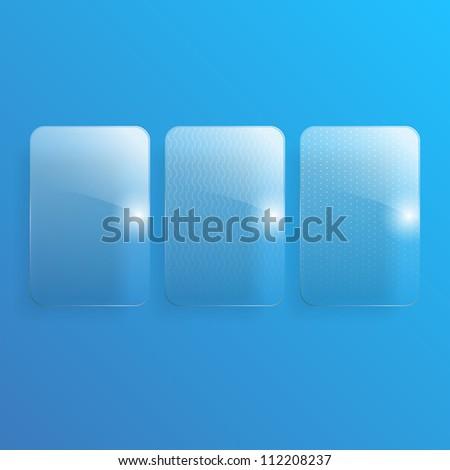Set of 3 glass illustrations.