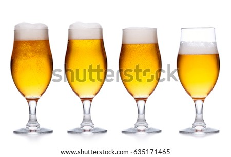 set of glass of cold light beer with foam on white background
