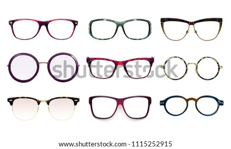 Set of glasses isolated on white background for applying on a portrait #1115252915