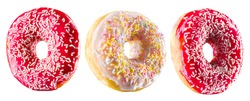Set of glazed donuts with sprinkles on a white background with reflection.