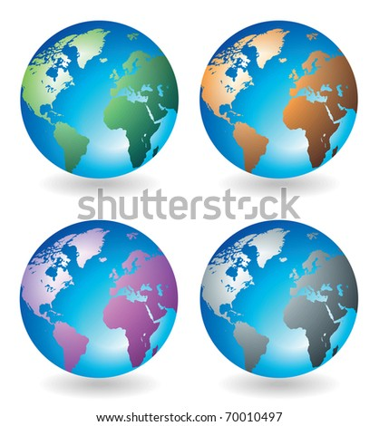 Set of globes in various colors. Raster version. Vector version is also available.