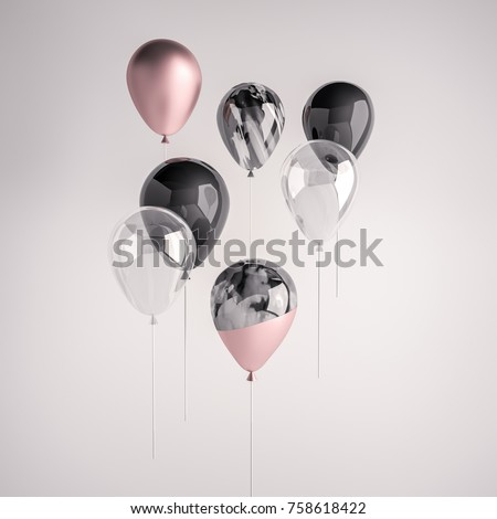 Set of glossy black, transperent, pink, black and white marble 3D realistic balloon on the stick for party, events, presentation or other promotion banner, posters.