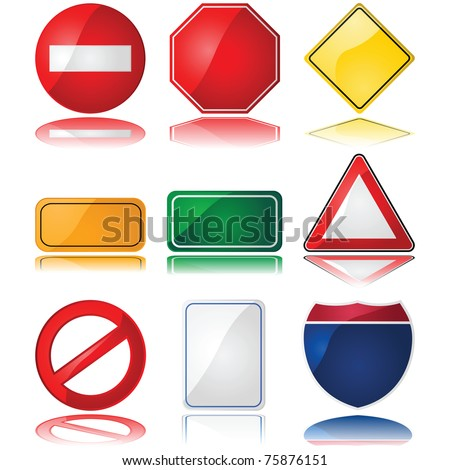 Set of glossy illustrations with different shapes of common traffic signs - stock photo