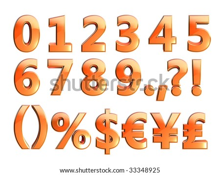 Set of glossy numbers and symbols isolated on white (part 1)