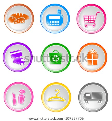 set of glossy shopping icons (vector version available in my gallery) - stock photo