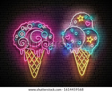 Set of Glow Signboards with Different Ice Cream in Waffle Cones. Cafe Flyer Template. Shiny Neon Light Poster, Banner, Invitation. Seamless Brick Wall. 3d Illustration