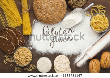 Set of gluten free pasta and bread, top view
