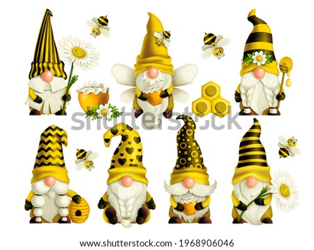 Set of gnomes bee in a yellow hat with a spoon, beehive and bees spring-summer dwarf Gnome honey Gnomish love. Hand-drawn digital drawings isolated on white background, for printing greeting cards Stock fotó ©