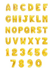set of gold alphabet and numerals balloon isolated on white background