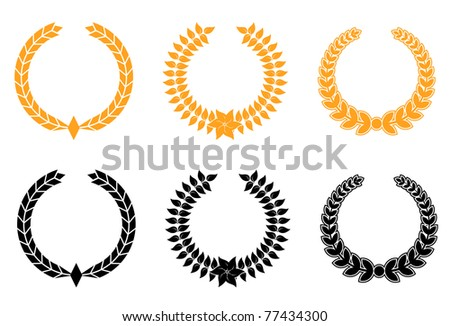 Set of gold and black laurel wreaths, such a logo. Vector version also available in gallery