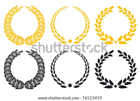Set of gold and black laurel wreaths. Vector version also available in gallery