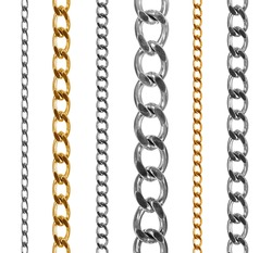 Set of gold and silver chains isolated on white background