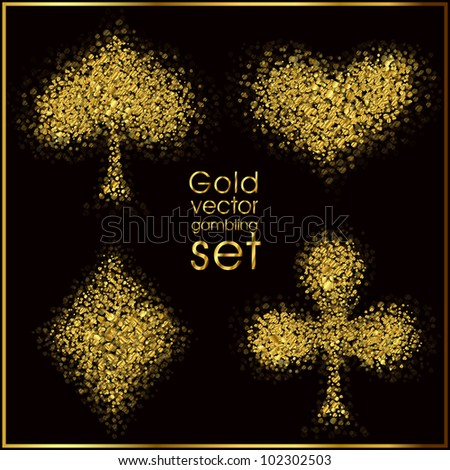 Set of 4 gold card suit