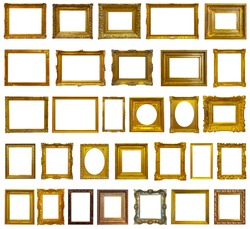 Set of 30 gold picture frames. Isolated over white background with clipping path