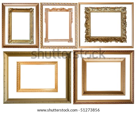 Set of  10 gold picture frames, isolated with clipping path