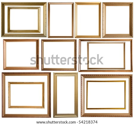Set of 14 gold picture frames, isolated with clipping path
