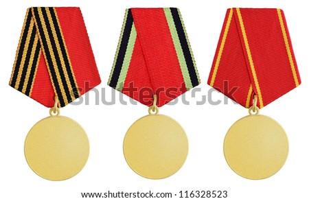 Set of gold russian medal isolated on white background