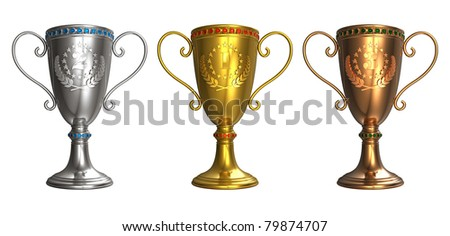 Set of gold, silver and bronze trophy cups isolated on white background
