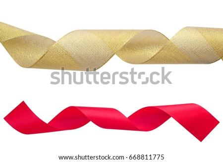 set of golden and red ribbons on white