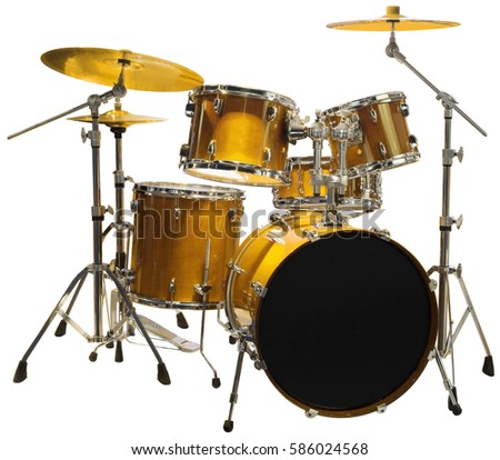 Set of Golden Battery Drum set Isolated with Clipping Path