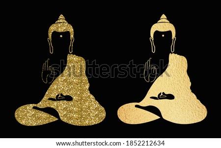 Set of Golden buddha icons. Symbol of glitter gold buddha isolated on white background. Indian, Buddhism, Spiritual motifs. Tattoo, yoga, spirituality. Buddha silhouette in gold. Buddha logo
