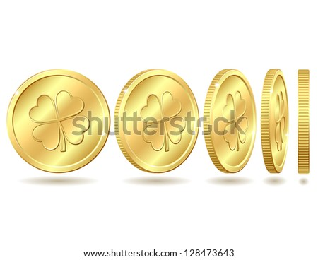 Set of golden coins with four leaf clover. St. Patrick's day symbol.