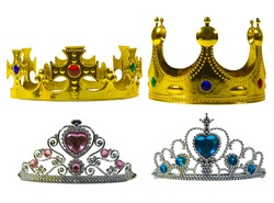 Set of golden crown and silver tiara with isolated on the white background.