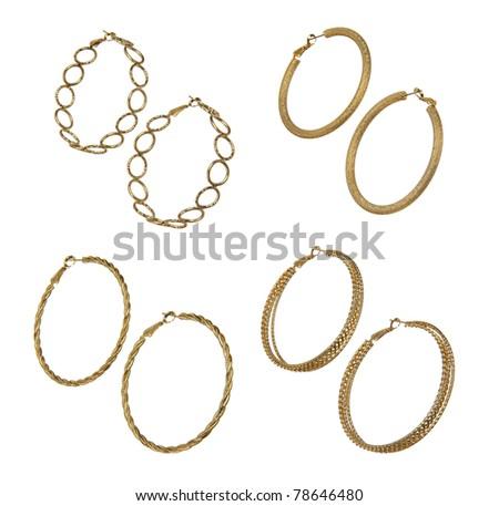 set of golden earrings