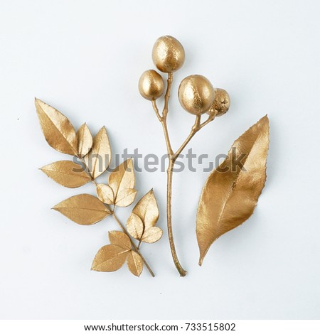 Set of golden floral design elements. Decoration elements for invitation, wedding cards, valentines day, greeting cards. Isolated. #733515802