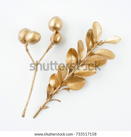 Set of golden floral design elements. Decoration elements for invitation, wedding cards, valentines day, greeting cards. Isolated. #733517158